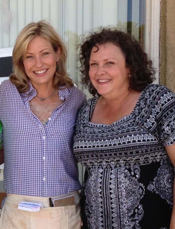 with fellow Arkansas actor/producer Joey Lauren Adams on the set of Valley Inn