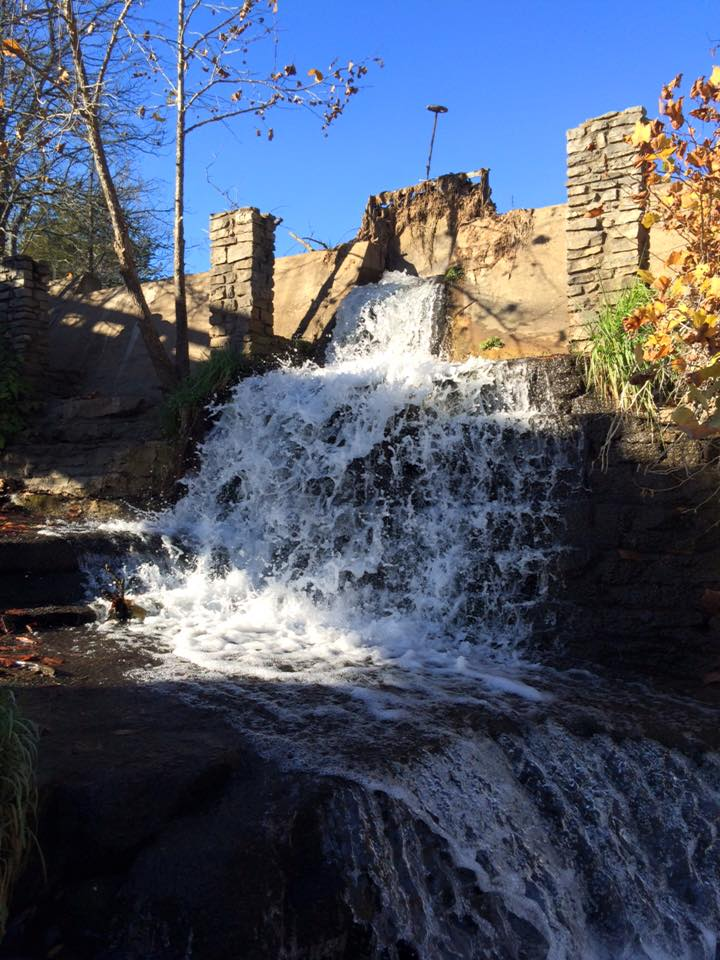 The stonemasonry was built to last, as evidenced by the park's waterfalls.